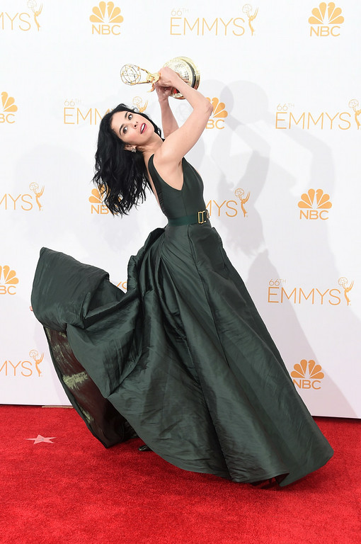 ". Writer-Comedian Sarah Silverman, winner of the Outstanding Writing for a Variety Special  Award for ""Sarah Silverman: We Are Miracles\"", poses in the press room during the 66th Annual Primetime Emmy Awards held at Nokia Theatre L.A. Live on August 25, 2014 in Los Angeles, California.  (Photo by Jason Merritt/Getty Images)"