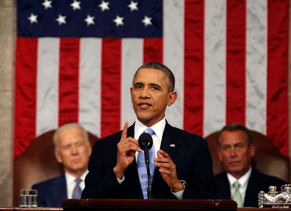 . President Barack Obama delivers the State of Union address before a joint session of Congress in the House chamber Tuesday, Jan. 28, 2014, in Washington, as Vice President Joe Biden, and House Speaker John Boehner of Ohio, listen. (AP Photo/Larry Downing, Pool)