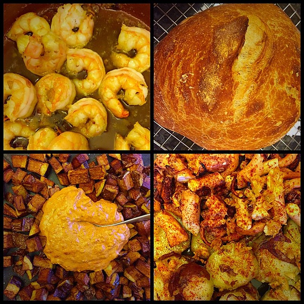 On the table tonite: TAPAS! Clockwise from upper left: Gambas Al Ajillo; Pan; Pulpo Gallego a la Plancha; Patatas Bravas!