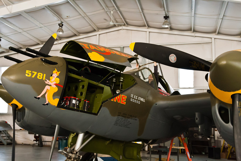 Felicity closes the P-38 canopy