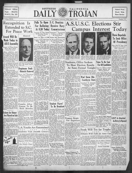 Daily Trojan, Vol. 27, No. 112, April 03, 1936