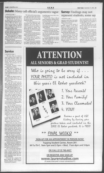 Daily Trojan, Vol. 144, No. 59, November 27, 2001