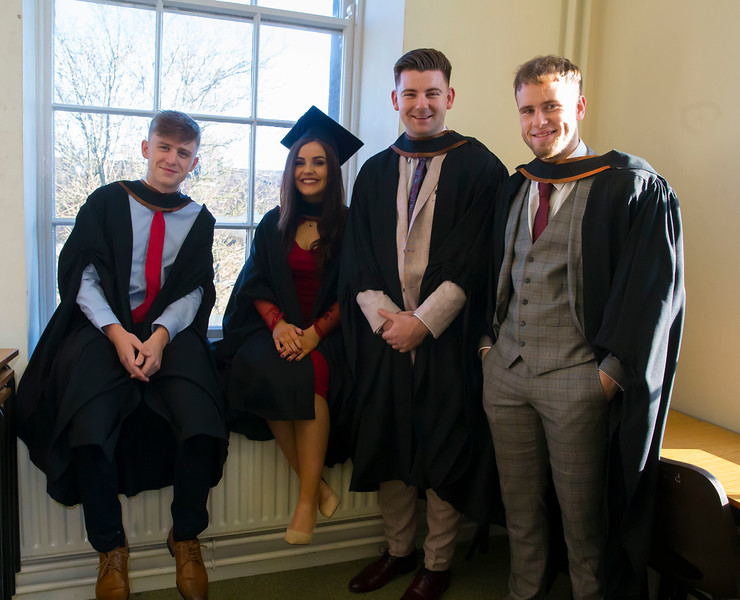 01/11/2018. Waterford Institute of Technology (WIT) Conferring Ceremonies 2018. Pictured are Cian Doyle, Wexford Town, Mary Kate Coleman, Waterford, Luke Rafter Wexford, Eoghan Kearney, Kilmoganny, Kilkenny. Picture: Patrick Browne