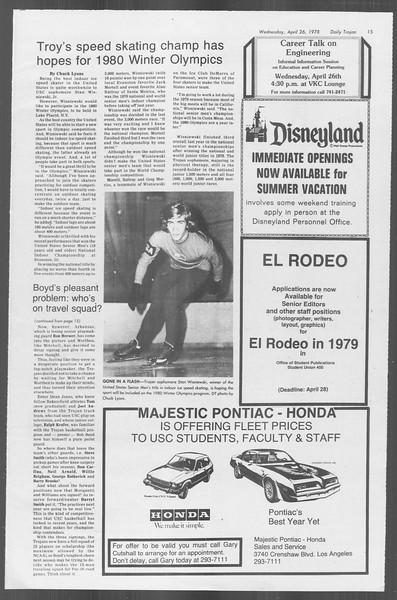 Daily Trojan, Vol. 73, No. 48, April 26, 1978