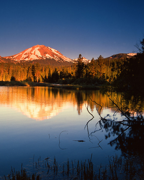 Lassen Peak at Manzanita Lake, Evening