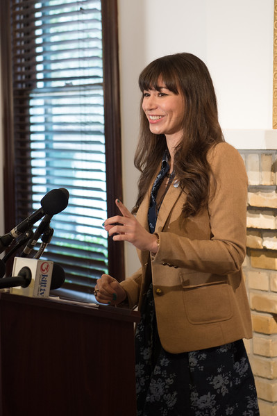 Ashley Hill, with C-SPAN, during the press conference in the Galvan House, In Corpus Christi, Tx.
