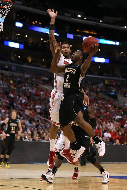 . LOS ANGELES, CA - MARCH 30:  Malcolm Armstead #2 of the Wichita State Shockers goes up for a shot against Amir Williams #23 of the Ohio State Buckeyes in the second half during the West Regional Final of the 2013 NCAA Men\'s Basketball Tournament at Staples Center on March 30, 2013 in Los Angeles, California.  (Photo by Jeff Gross/Getty Images)