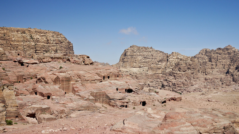A sweeping vista over pieces of Petra, Jordan.
