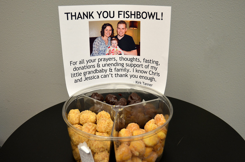 "2012-5-16 ––– Many of our Fishbowl employees were fasting yesterday during Aili's surgery, and many had contributed cash to help them with their expenses while in California. To say thanks to the employees, I went and purchased two tubs of these gourmet donut holes  and put a ""Thank You"" sign on each and put them out for the employees to enjoy. Her surgery was truly a miracle and all had contributed in some way to support Jessica, Chris and Aili."
