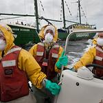 Activistas de Greenpeace recogen muestras para monitorear niveles de radiaci�n