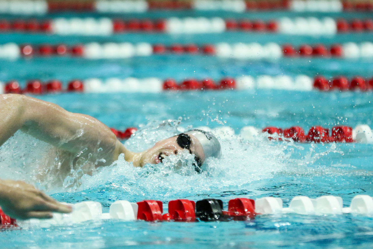 Georgia swimmer Walker Higgins competes in the men's 200-yard freestyle during a swimming and diving meet against Texas A&M at the Gabrielsen Natatorium in Athens, Ga., on Sat., Jan. 11, 2020. (Photo by Chamberlain Smith)