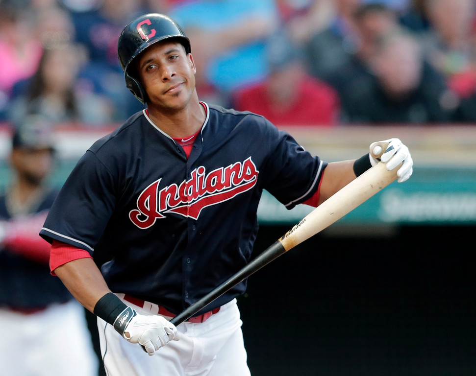 . Cleveland Indians\' Michael Brantley reacts after lining out in the seventh inning of a baseball game against the Oakland Athletics, Wednesday, May 31, 2017, in Cleveland. The Athletics won 3-1. (AP Photo/Tony Dejak)