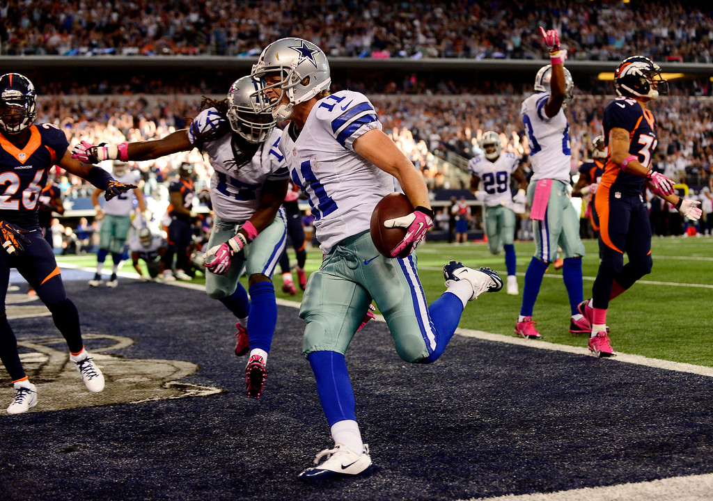 . Cole Beasley (11) of the Dallas Cowboys scores a go-ahead touchdown against the Denver Broncos during the second half of the Broncos\' 51-48 win at AT&T Stadium.  (Photo by AAron Ontiveroz/The Denver Post)