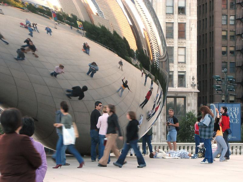 The Cloud Gate (AKA The Bean) in Millenium Park, Chicago.