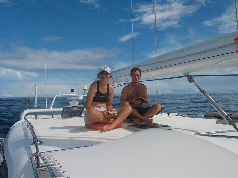 "ADAGIO's ""sun deck"" is for readers in a calm sea, sailing from Bora Bora to Hawaii -- Vanessa and Callum"
