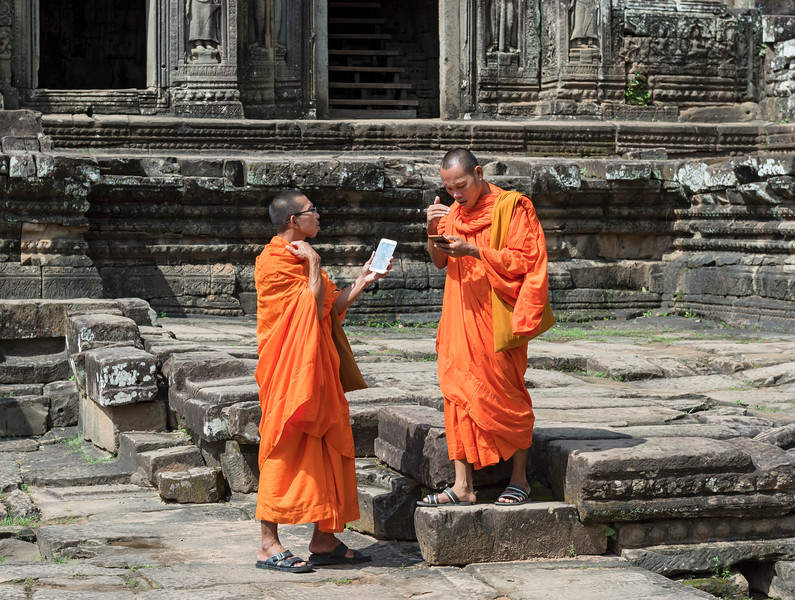 Buddhist Monks at Bayon Temple