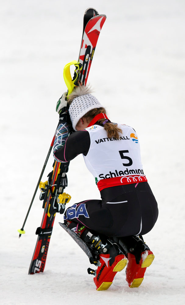 Description of . Mikaela Shiffrin of the U.S. reacts during the second run of the women's Slalom race at the World Alpine Skiing Championships in Schladming February 16, 2013. REUTERS/Leonhard Foeger