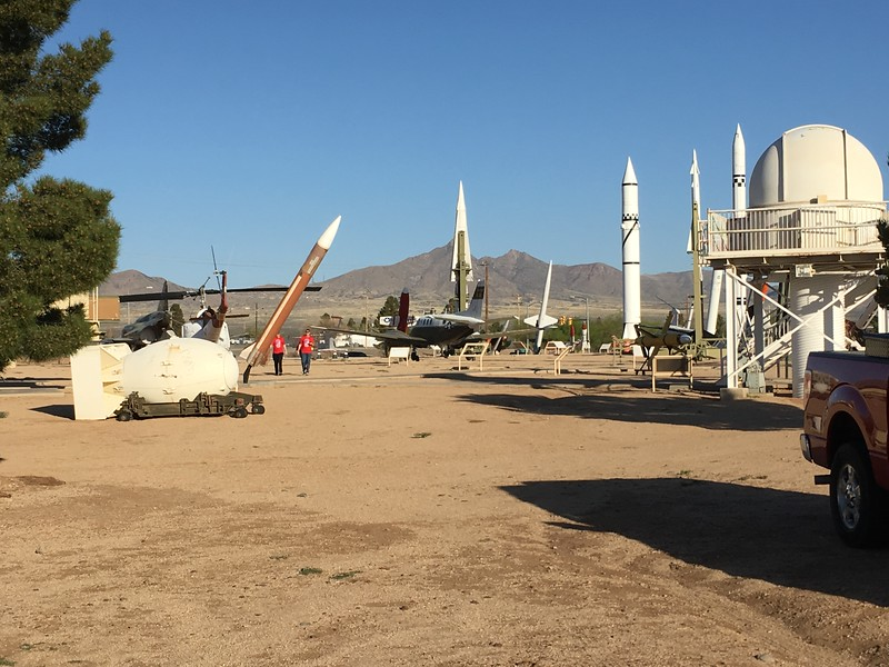 """Passing a missile exhibit - Yes, """"Fat Man"""" replica on the left, which decisively ended WWII."""