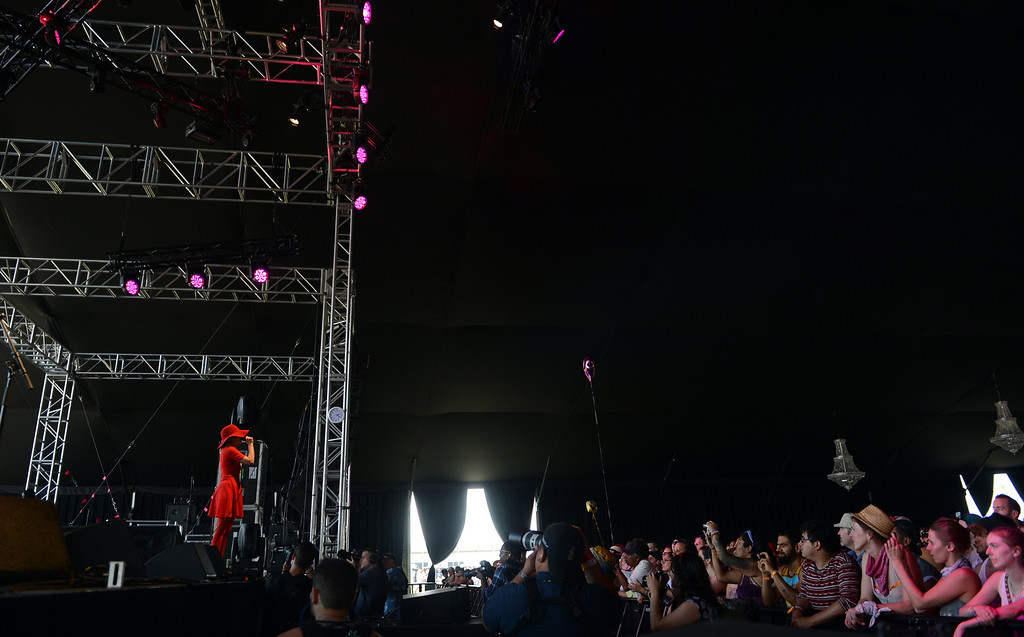 . Austra performs during the Coachella Valley Music and Arts Festival at the Empire Polo Club in Indio, CA, Friday, April 11, 2014. (Photo by Jennifer Cappuccio Maher/Inland Valley Daily Bulletin)