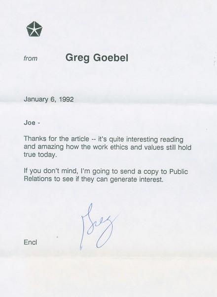 1992, Chrysler Letter