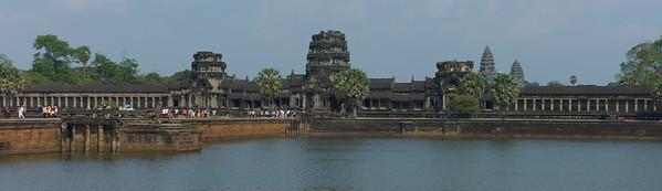 Angkor Wat.  The moat is inside an outer wall 3.6 kilometres (2.2 mi) long.
