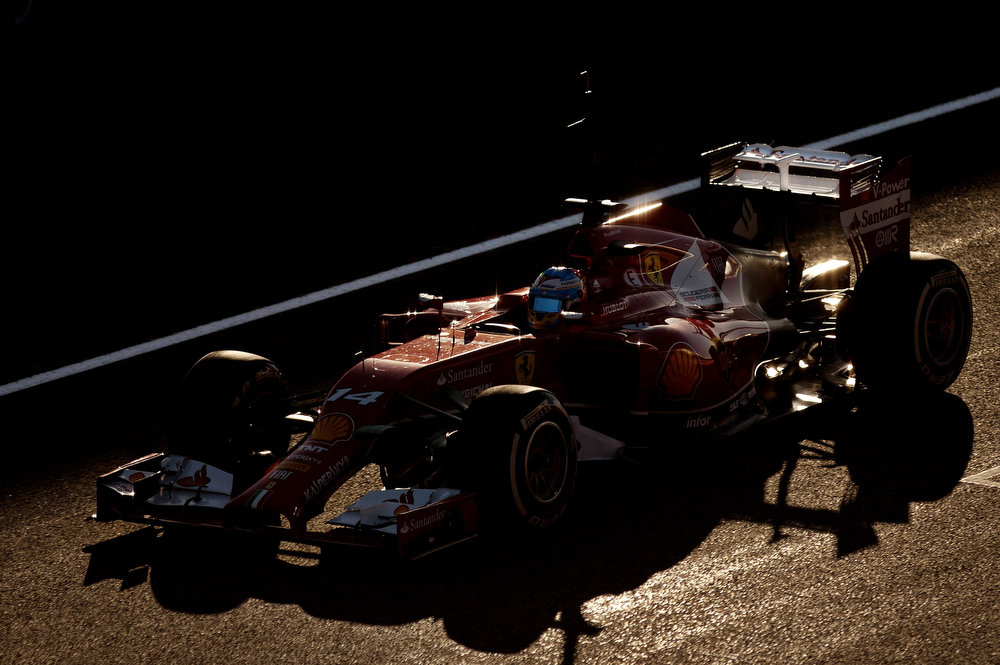 . Ferrari Spanish driver Fernando Alonso drives during the Formula One pre-season test days at Jerez racetrack in Jerez on January 30, 2014. (Jorge Guerrero/AFP/Getty Images)