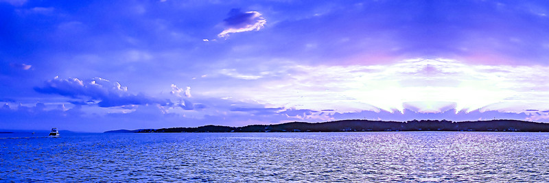 blue and white colored cumulus cloud, sunset seascape.