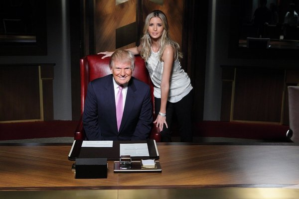 ". ALL-STAR CELEBRITY APPRENTICE -- ""The First Leaf That Hits the Ground\"" Episode 1307-- Pictured: (l-r) Donald Trump, Ivanka Trump -- (Photo by: Douglas Gorenstein/NBC)"