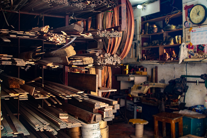 Little metal shops.