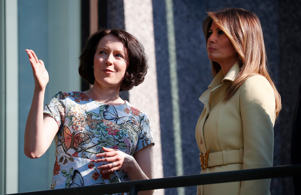. Jenni Haukio, wife of Finnish President Sauli Niinisto, talks to U.S. First Lady Melania Trump, on the balcony of Niinisto\'s official residence in Helsinki, Finland, Monday, July 16, 2018 prior to his meeting with Russian President Vladimir Putin in the Finnish capital. (AP Photo/Pablo Martinez Monsivais)