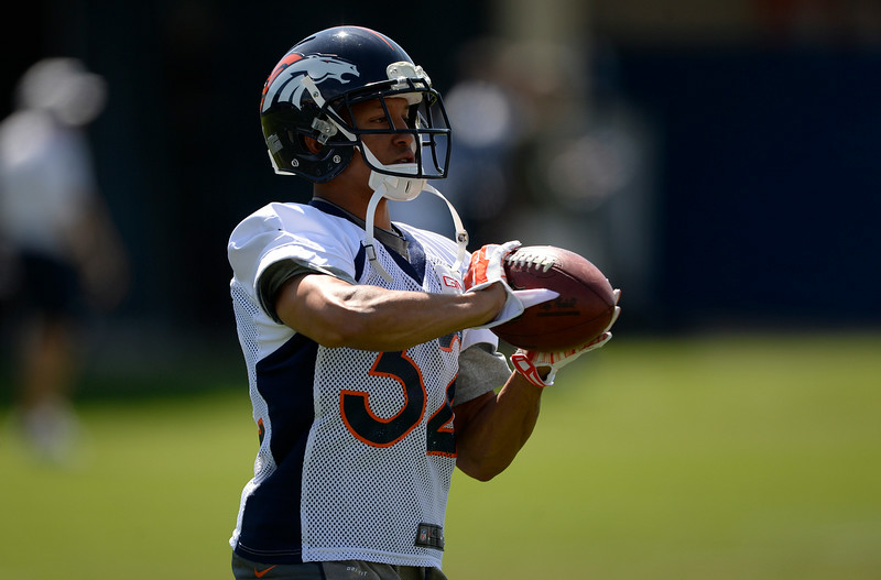 . Denver Broncos cornerback Tony Carter (32) catches a pass during practice August 25, 2014 at Dove Valley.(Photo by John Leyba/The Denver Post)