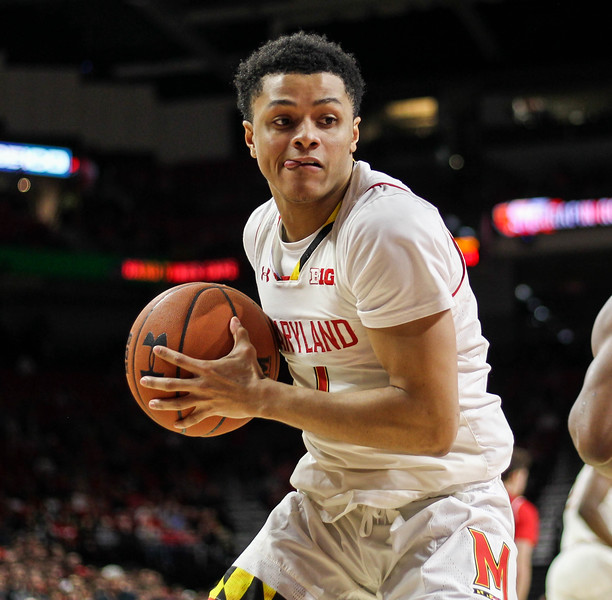 January 14, 2019: Maryland guard Anthony Cowan Jr (1) grabs a rebound during BIG Ten Men Basketball action between University of Wisconsin and University of Maryland in College Park. Photo by: Chris Thompkins/Prince Georges Sentinel