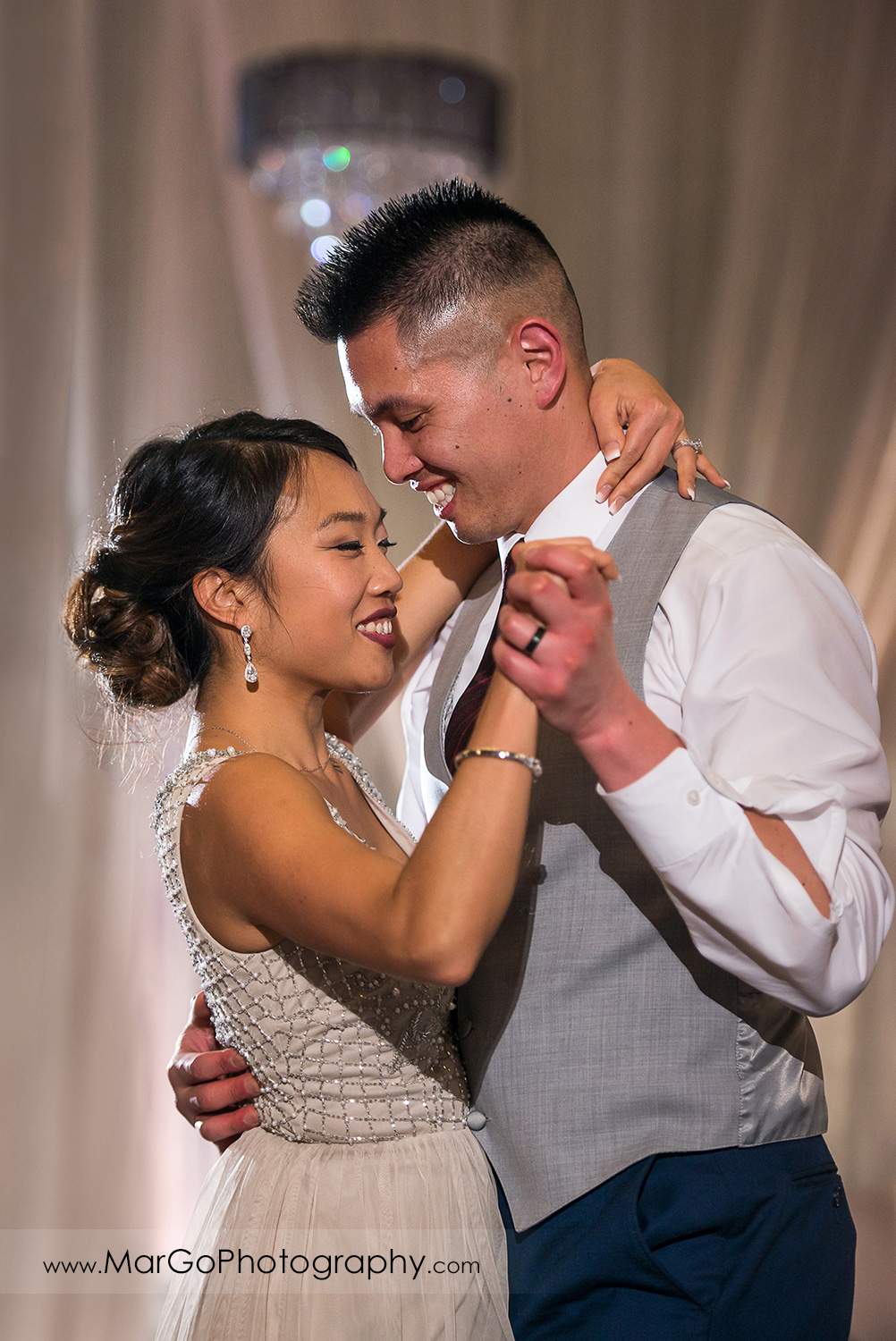 bride and groom during first dance at Sunol's Casa Bella wedding reception