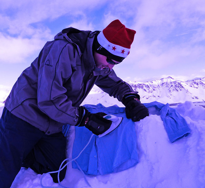 Ironing at 3,032 m at about -20 C.