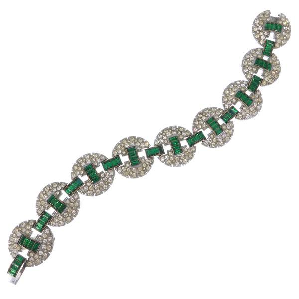 Vintage Art Deco Circular Paste Green Glass Panel Bracelet