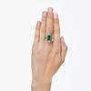 4.05ct Emerald and Old European Cut Diamond Ring 2