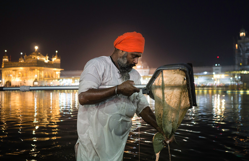 A volunteer cleans the Amrit-sarovar  which means 'pool of nectar' surrounding the golden temple.