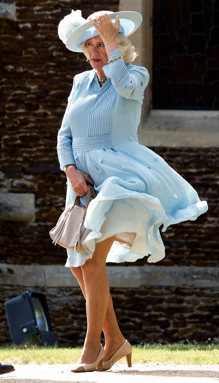 . Camilla, Duchess of Cornwall arrives at the Church of St Mary Magdalene on the Sandringham Estate for the Christening of Princess Charlotte of Cambridge on July 5, 2015 in King\'s Lynn, England.  (Photo by Matt Dunham - WPA Pool/Getty Images)