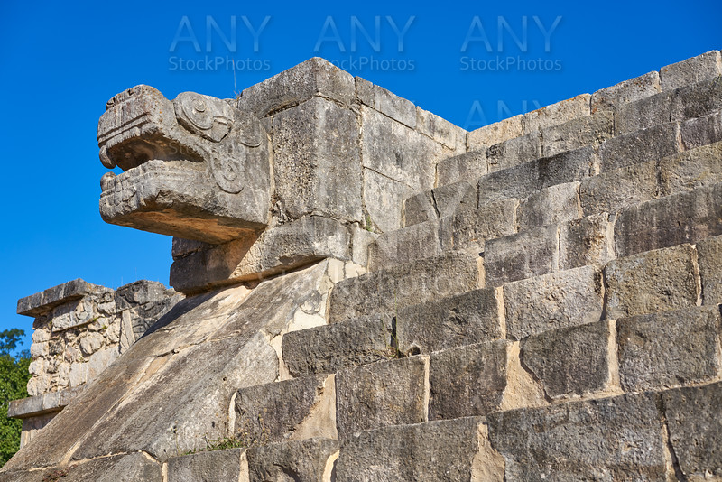Chichen Itza snake head Yucatan Mexico
