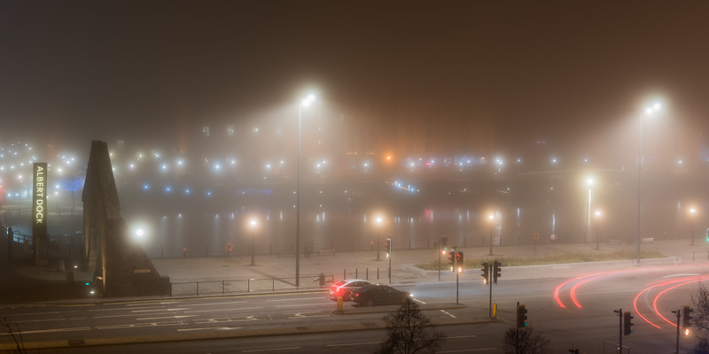 (Panoramic) Albert Dock, Liverpool in the fog at night