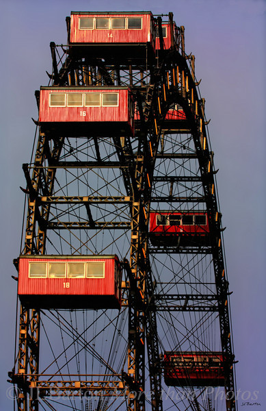 The Riesenrad Built in 1897, burned during the 1944 bombing of the city, refurbished and in operation with half the number of cabins since that time.