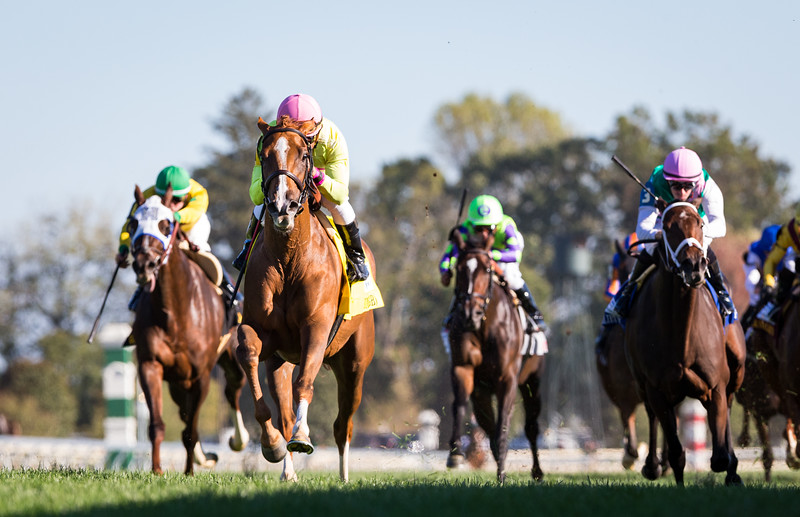 "Uni (#4, More Than Ready) wins the First Lady (G1) a ""Win and You're In"" Breeders' Cup Filly and Mare Turf Division at Keeneland on 10.5.2019. Joel Rosario up, Chad Brown trainer, Robert LaPenta, Michael Dubb, Head of Plains Partners, and Bethlehem Stables owners."