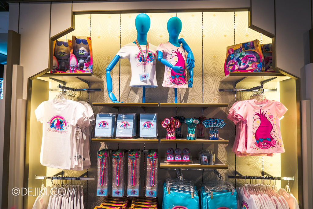 Universal Studios Singapore Park Update March 2018 TrollsTopia event - Troll movie merchandise wall