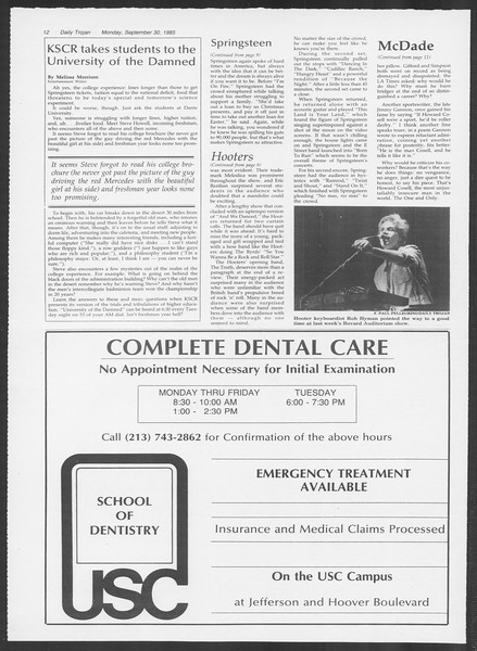 Daily Trojan, Vol. 100, No. 20, September 30, 1985