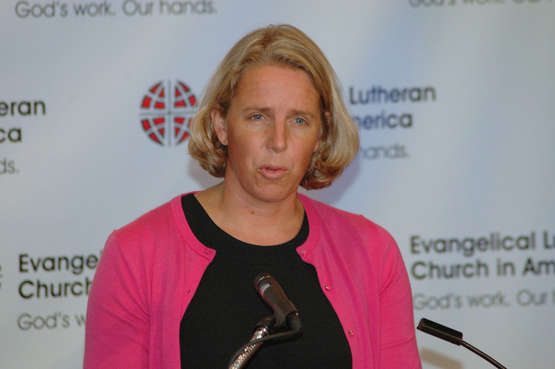 The Rev. Kaari Reierson, Associate Director for Studies during a News Conference.