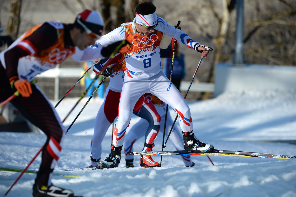 . France\'s Jason Lamy Chappuis (8) competes in the Nordic Combined Individual NH / 10 km Cross-Country at the RusSki Gorki Jumping Center during the Sochi Winter Olympics on February 12, 2014, in Rosa Khutor near Sochi.  AFP PHOTO / PETER  PARKS/AFP/Getty Images