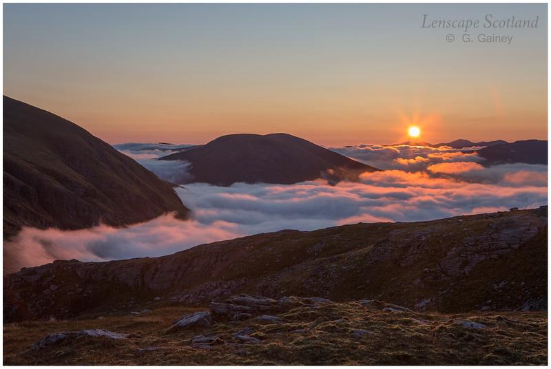 sunrise over Beinn a'Chuirn, from Beinn Dorain