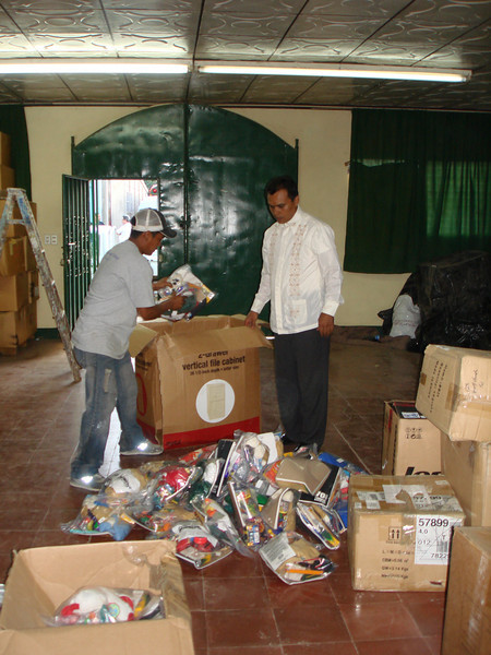 Preacher from one of the churches in Managua arriving to return with Smile boxes for 3 churches in the Managua area.