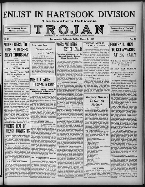 The Southern California Trojan, Vol. 9, No. 30, March 01, 1918