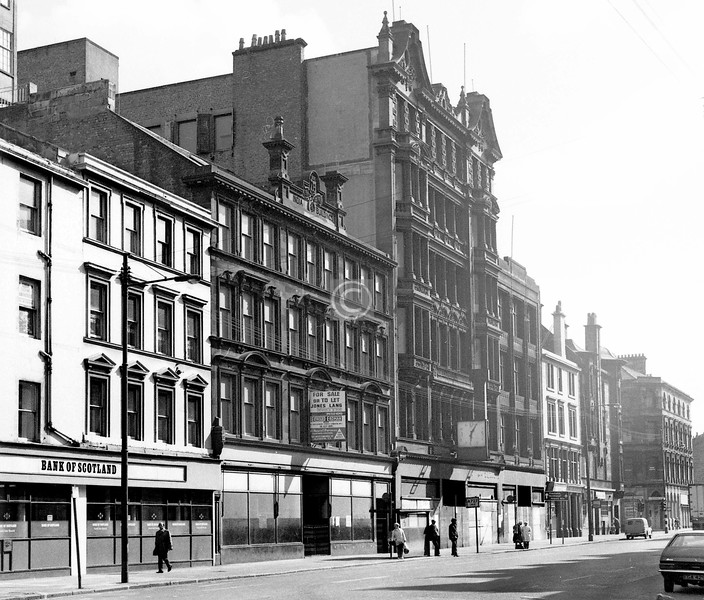 Bridge St, east side, south of Oxford St.   The tall building (Bruce & Hay, 1903) was a warehouse for the Kinning Park Co-operative Society.    August 1973